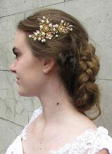 Or & Ivoire Perle Laurel Feuille Peigne À Cheveux Grec Mariage Noces Fleur Bal