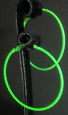 Neon green hoop earrings 70s 80s fancy dress party rave retro