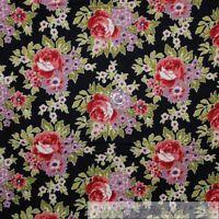 BonEful Fabric FQ Cotton Quilt VTG Black Pink Purple Rose Bud Flower Damask Leaf