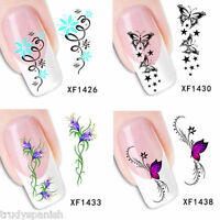 Nail Art Water Decals Wraps Transfers Flowers Gel Polish UV Tips Decoration XF