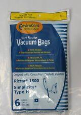6 Vacuum Bags for Riccar 1500 & Simplicity Type H