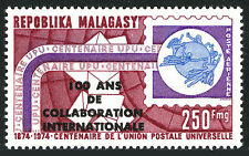 Malagasy C133, MNH. UPU, cent. Letters, Emblem. Ovprd. Intl. Collaboration, 1974