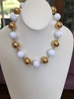 Signed Monet Gold And White Beaded Extra Large Collar Choker Link Necklace