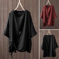 ZANZEA Women Half Sleeve Crew Neck Shirt Tops Baggy Plain Drawstring Blouse Plus