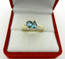 KISS Style  LONDON TOPAZ 14k Yellow GOLD with Diamonds Accent RING  size 6.75