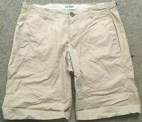 OLD NAVY Khaki Flat Front Casual Longer Style Bermuda Shorts womens size 6