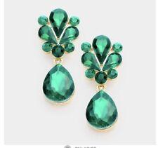 "1.7"" Green Emerald Gold Long Teardrop Crystal Pageant Bridal Earrings Formal"