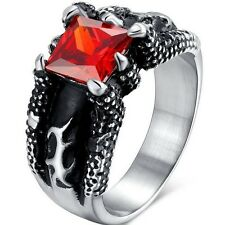 Size 9 10 11 12 13 14 Stainless Steel Ring Dragon Claw Gothic Biker Men Ruby Red
