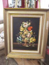 R. ROSINI  STILL LIFE ON CANVAS  FROM ITALY A STRIKING FLORAL DISPLAY
