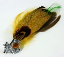 PLUME BROOCH WITH FAUX CAIRNGORM STONE & THISTLE SETTING by MIRACLE NEW PL017