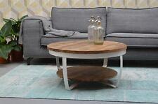 Design Beistelltisch Couchtisch rund Rob Ø 85 cm Mango Holz Metall *Neu*