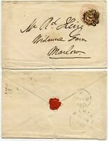 GB QV NUMBER 7 in MALTESE CROSS CANCEL on STATIONERY 1d PINK to MARLOW 1843