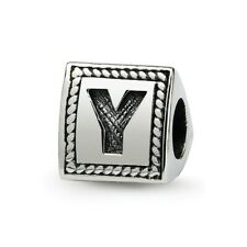 Letter Y Triangle Block Bead .925 Sterling Silver Antiqued Reflection Beads