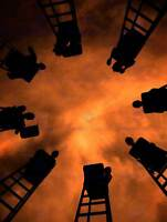 FIRE FIGHTERS UP LADDERS RED SKY PHOTO ART PRINT POSTER PICTURE BMP120B