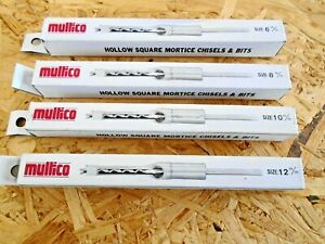 """MULTICO WHITE BOX 6mm, 8mm 10mm 12mm MORTICE CHISEL & BITS 3/4"""" SHANK mortise"""