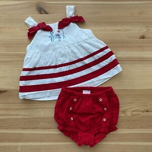 JANIE AND JACK Down By The Sea Seahorse Top & Bloomer Set Outfit Size 3-6 Months