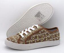 Michael Kors Medici 2 Girls UK 13.5 EU 32 Tan & White Embellished Trainers Shoes