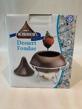 Hershey's Kisses Dessert Fondue Set Chocolate Melting Pot 4 Forks 1 Ceramic Pot
