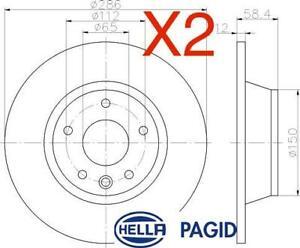 Rear Brake Discs 286mm fits Audi TT 8J3 2.0 TFSI 2.0 TFSI quattro 1.8 TFSI