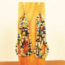 "2 1/2"" Bold Multicolor Simple Style Handmade Dangle Hoop Seed Bead Earring"
