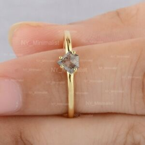 Gray Kite Salt & Pepper Diamond Solid 14K Yellow Gold Minimalist Four Prong Ring