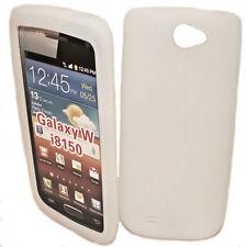 SILICONE TPU Case Cover per Cellulare Bianco per Samsung i8150 GALAXY W + Proteggi Schermo