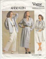 VOGUE 1542 Anne Klein Jacket Skirt Pants Sewing Pattern Size 14 Uncut