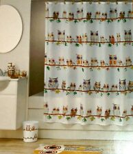 """""""HOOT """" KIDS FABRIC SHOWER CURTAIN 70""""x71""""BY ALLURE  NEW IN BAG"""