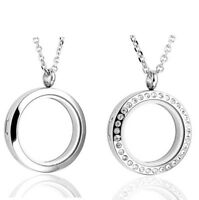 US Steel Round Floating Charms Locket Living Glass Memory Pendant Necklace