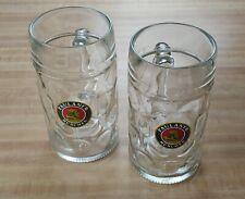 New listing Set (2) 1 Liter Dimpled Glass Beer Mugs Steins Paulaner Munchen