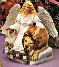 CERAMIC BISQUE PEACE ANGEL WITH LION AND LAMB ~ READY TO PAINT