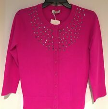 kate spade Tokyo Grid Cardigan Rhinestone Jewel Hot Pink Fuschia Cardi Sz XS NEW