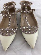 Valentino 'Rockstud' Double Ankle Strap Pointy Toe Flat, size 5 EU 5 US, $995