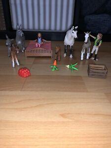 Schleich, Fohlen/Pferd,Esel,Top Qualität,Zubehör, Bett,Frau