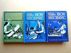 Lot of 3 Popular Mechanics' The Boy Mechanic Vol. 2, 3 & 4 - 1915-24 HC GC