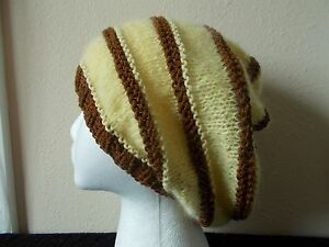 Hand knitted soft & fuzzy mohair blend slouchy beanie/hat/beret, yellow/brown