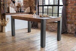 Caro Solid Sheesham Wood Luxury Industrial Dining Table and Dark Grey Legs