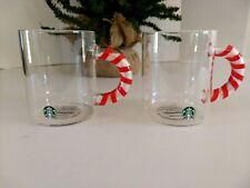 Starbucks 12oz Glass Mug Holiday 2020 Candy Cane Handle