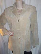 30/1 STUNNING CAMEL SINGLE BUTTON SUEDE LEATHER COTTON TRADERS WOMEN'S JACKET 16