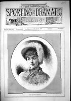 Old Antique Print 1883 Beautiful Woman Miss Blanche Thompson Feather Hat 19th