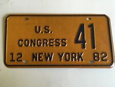1982 New York License Plate US Congress Orange Base Political Government