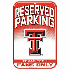 "TEXAS TECH RED RAIDERS Fans Only Reserved Parking Sign, 11"" X 17""--FREE Shipping"