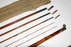 15' 4/2 Charles Farlow & Co. wooden salmon rod w/ ferrule plugs, tip tube EX+ NR