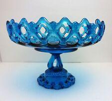 VINTAGE WESTMORELAND DORIC LACEY EDGE BERMUDA BLUE CENTERPIECE FRUIT BOWL, 1950s