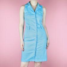 VINTAGE 80s 90s Blue Mini Wiggle Pencil Knee Retro Rockabilly Button Dress XS 8