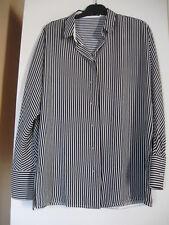 Mango - Chemise ample et fluide / liquette rayée verticale - noire et écrue - S