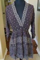 NEW Johnny Was Embroidered V Neck Rayon Crochet Tunic Top Shirt Blouse S Brown