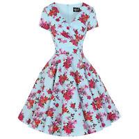 Hell Bunny Alyssa Blue Floral Retro Vintage 1950S Flared Summer Sun Swing Dress