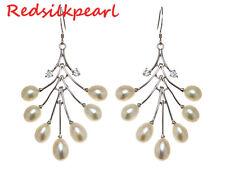 Fulinken 60mm Silver925 White Freshwater Pearl Zircon Dangle Earrings FW0178