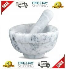 Mortar and Pestle Set Marble Granite Gray Large Professional Kitchen Tools - NEW